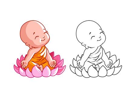 Pequeño monje de dibujos animados en la flor de loto. Página para colorear. Ilustración del vector aislado en un fondo blanco. Ilustración de vector