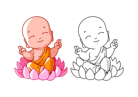 Little cartoon monk on the lotus.