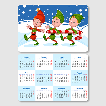 horizontal orientation: Calendar for 2017 year with happy gnomes. Week Starts Monday. Funny cartoon characters. Vector calendar template horizontal orientation.