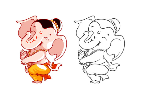 eastern spirituality: Little cartoon Ganesha. Page for coloring book. Vector illustration isolated on a white background.