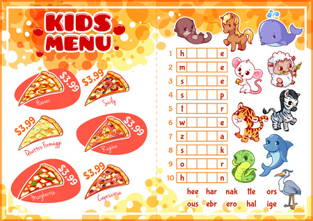 horizontal orientation: Kids Menu for fast-food with game. Pizza menu. Template menu A4 size horizontal orientation.