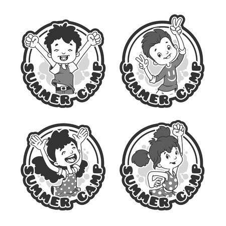 Set of four stickers with happy kids.