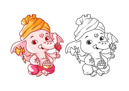 Weinig cartoon Ganesha. Pagina voor kleurboek. Vector illustratie die op een witte achtergrond.