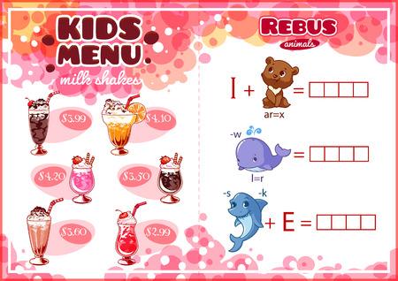 horizontal orientation: Kids Menu for milk shakes with rebus game. Different cocktails. Template menu A4 size horizontal orientation.