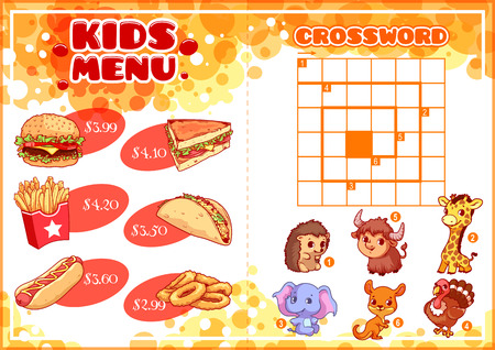 onion rings: Kids Menu for fast-food with spiral crossword. Hamburger, hot-dog, sandwich, tacos, french fries and onion rings. Template menu A4 size horizontal orientation.