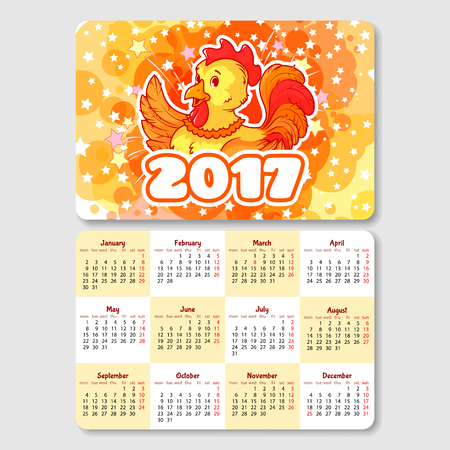horizontal orientation: Calendar with rooster - symbol of the 2017 year. Week Starts Monday. Funny cartoon character. Vector calendar template horizontal orientation.