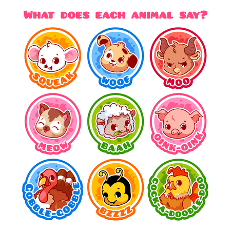 sounds: Set of round stickers with animals and their sounds. Illustration