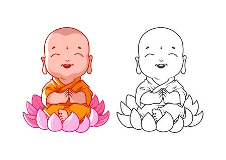 Piccolo monaco cartone animato sul loto. Archivio Fotografico - 56955177