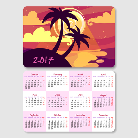 horizontal orientation: Calendar for 2017 year with landscape of summer night. Week Starts Monday. Vector calendar template horizontal orientation. Illustration