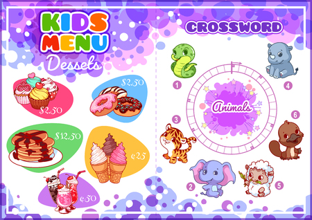 horizontal orientation: Kids Menu for desserts with round crossword. Different sweets. Template menu A4 size horizontal orientation. Illustration