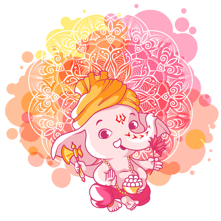 Little cartoon Ganesha. Sunny day. cartoon illustration on a pink spotted background.