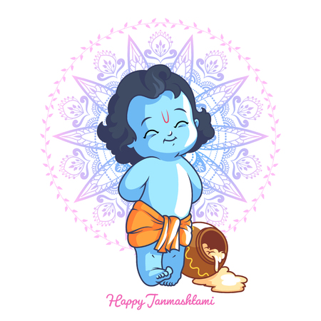 birthday religious: Little cartoon Krishna with a pot of butter. Greeting card for Krishna birthday. illustration isolated on a white background.
