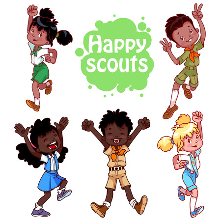 girl scout: Set of happy african american kids. Boys and girls scouts. cartoon characters isolated on a white background.