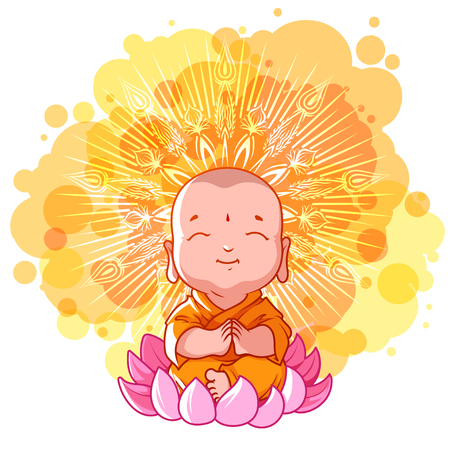 Little meditating monk on the lotus. Sunny day. cartoon illustration on a yellow spotted background.