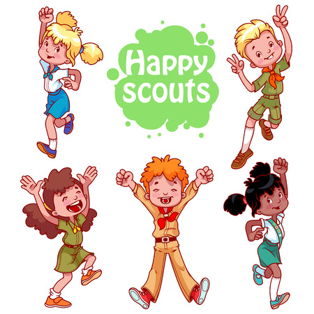 girl scout: Set of happy kids. Boys and girls scouts. cartoon characters isolated on a white background. Illustration