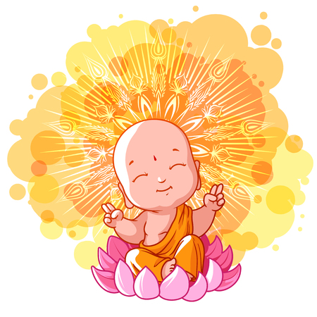 sunny: Little meditating monk on the lotus. Sunny day. cartoon illustration on a yellow spotted background.