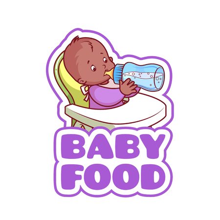 highchair: Cute african american kid in baby highchair with bottle of milk. Logo for baby food company. Vector clip-art illustration isolated on a white background.