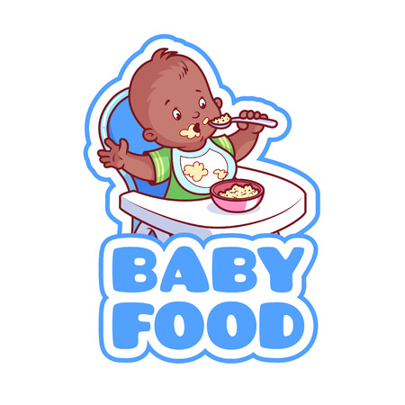 cartoon child: Cute african american kid in baby highchair with plate of porridge. Logo for baby food company. Vector clip-art illustration isolated on a white background. Illustration