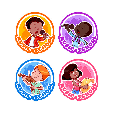 singer microphone: Four stickers with kids. Logo template for music school. Vector cartoon illustration isolated on a white background. Illustration