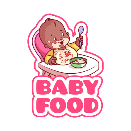 highchair: Cute african american kid in baby highchair with plate of porridge. Logo for baby food company. Vector clip-art illustration isolated on a white background. Illustration