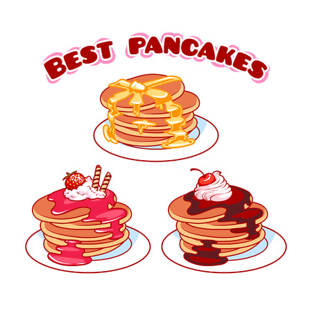 toppings: Set of best pancakes with different toppings. Vector illustration isolated on a white background.