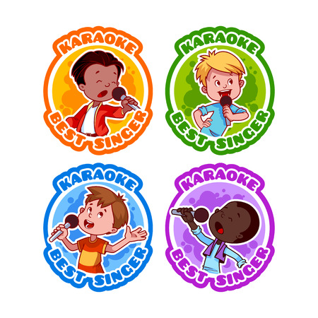 karaoke singer: Four stickers with singing boys. Medal for best singer in karaoke. Vector cartoon illustration isolated on a white background.