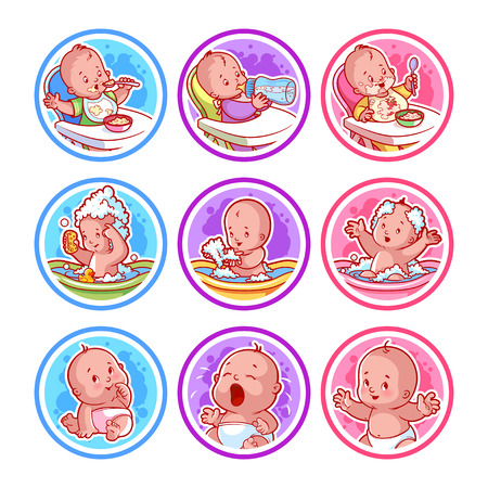 Set Aufkleber mit Babys. Babynahrung und Baden. Vektor-Cartoon-Illustration auf einem weißen Hintergrund. Standard-Bild - 58450324