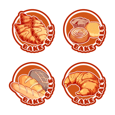 bake sale: Four stickers with different bakery products. Bake sale banners. Vector cartoon illustration isolated on a white background.