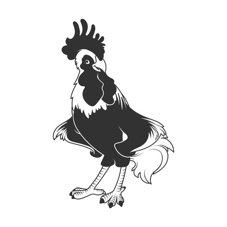 pompous: Rooster - symbol of 2017. Vector cartoon character in black and white style.