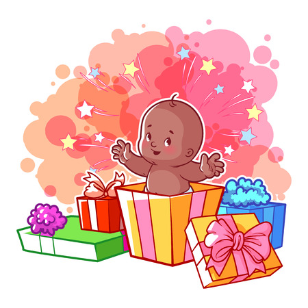 african american infant: Card with cute african american baby girl in gift box. Happy toddler. Vector cartoon illustration.