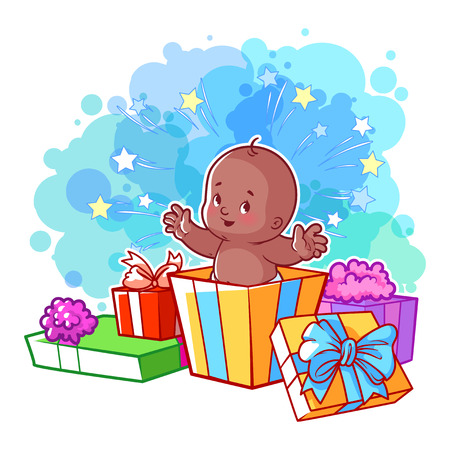 african boy: Card with cute african american baby boy in gift box. Happy toddler. Vector cartoon illustration.