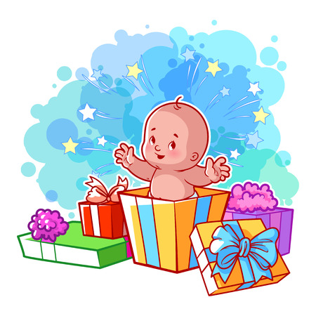 Card with cute baby boy in gift box. Happy toddler. Vector cartoon illustration. Illustration