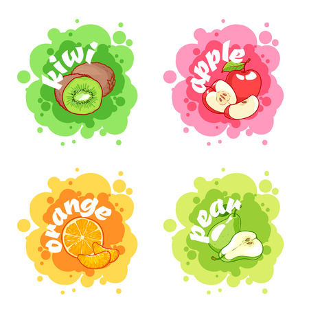 apple isolated: Four stickers with different fruits. Kiwi, apple, orange and pear. Vector cartoon illustration isolated on a white background.