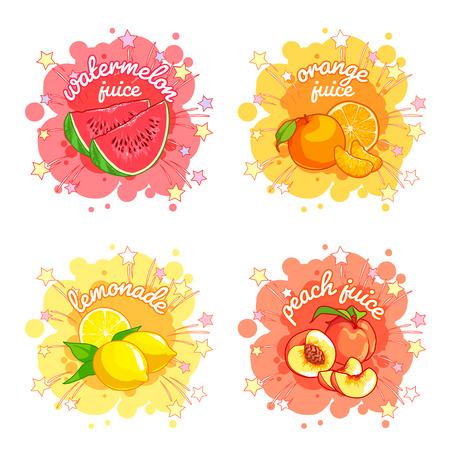 Quattro adesivi con diversi succhi di frutta. Anguria, arancia, limone e pesca. Vector cartoon illustrazione isolato su uno sfondo bianco.