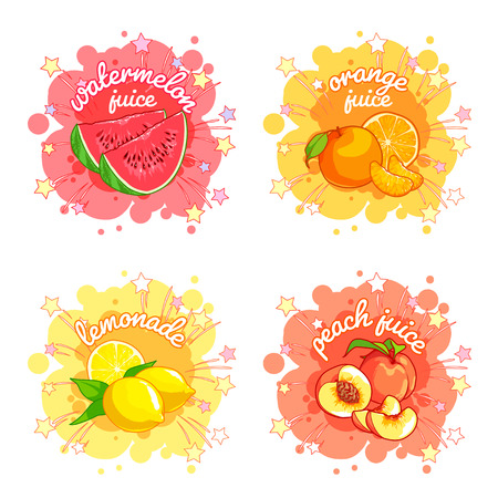 Four stickers with different fruit juices. Watermelon, orange, lemon and peach. Vector cartoon illustration isolated on a white background. Stock Illustratie