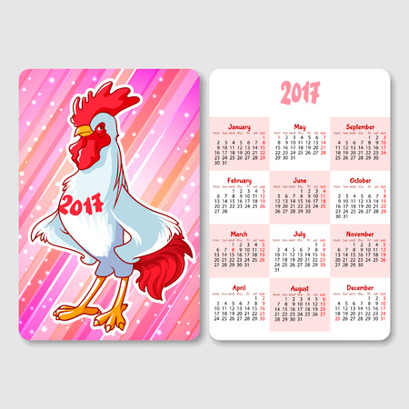 vertical orientation: Calendar with rooster - symbol of the 2017 year. Week Starts Monday. Funny cartoon character. Vector calendar template vertical orientation.