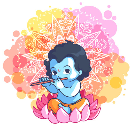 Little cartoon Krishna with a flute on the lotus. Vector cartoon illustration on a pink spotted background.