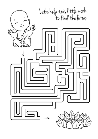 pathfinder: Maze game for kids with monk and lotus. Lets help this little monk to find his way to the lotus. Vector template page with game in black and white style.