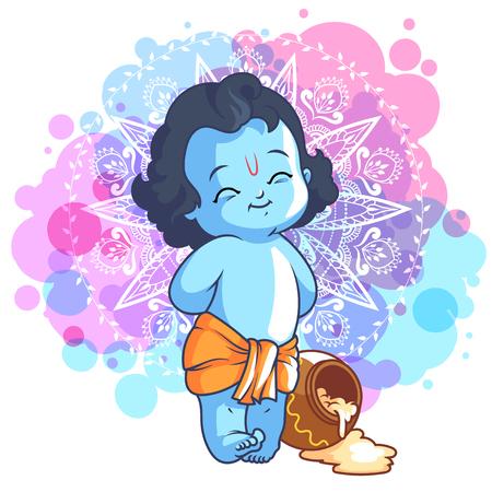 Kleine Comic-Krishna mit einem Topf Butter. Vector Cartoon Illustration auf einem lila gefleckten Hintergrund.