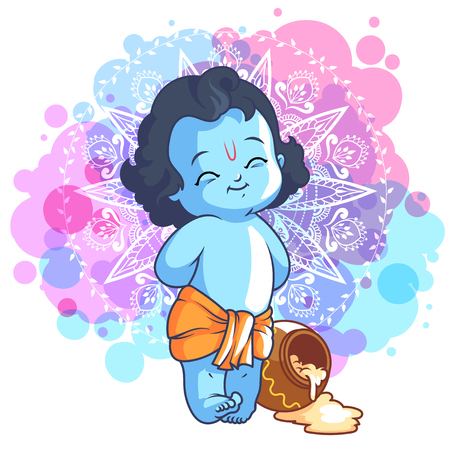 Little cartoon Krishna with a pot of butter. Vector cartoon illustration on a purple spotted background.