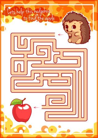 고슴도치와 사과를 가진 아이들을위한 미로 게임. 이 고슴도치가 사과를 찾도록 도와주세요. 벡터 템플릿 페이지 게임입니다. 일러스트