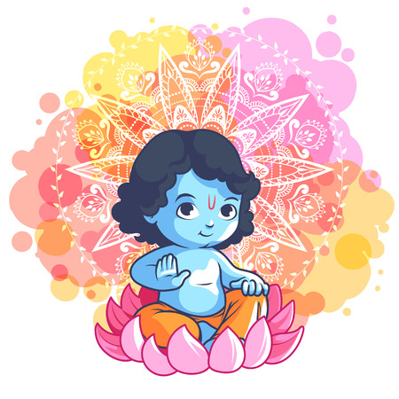 birthday religious: Little cartoon Krishna on the lotus. Vector cartoon illustration on a pink spotted background.