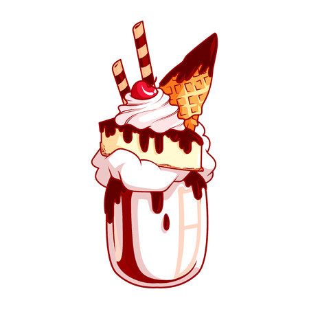Giant milkshake with cheesecake, chocolate and vanilla ice cream. Monstershake in cocktail jar. Vector cartoon illustration isolated on a white background.