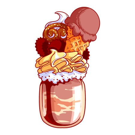 bagels: Giant milkshake with chocolate ice cream, cookies and bagels. Monstershake in cocktail jar. Vector cartoon illustration isolated on a white background.