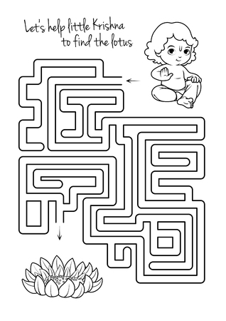 pathfinder: Maze game for kids with Krishna and lotus. Lets help little Krishna to find his way to the lotus. Vector template page with game in black and white style.