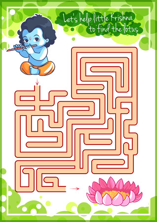 pathfinder: Maze game for kids with Krishna and lotus. Lets help little Krishna to find his way to the lotus. Vector template activity page.