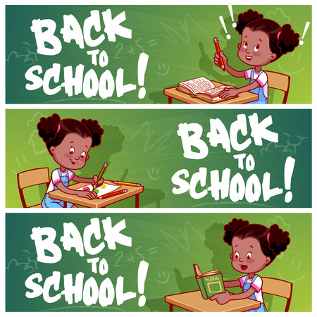 Three horizontal banners with african american schoolgirl. Back to school! Vector template flayer isolated on a white background. Illustration