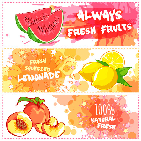 natural juices: Three horizontal banners for fruit juices. Fresh natural juice. Vector template flayer isolated on a white background. Illustration
