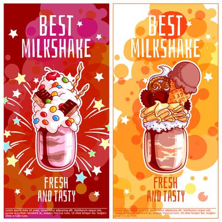 Twee verticale oriëntatie flyers voor milkshakes. Best reus melk cocktail in pot. Vector template flayer geïsoleerd op een witte achtergrond.