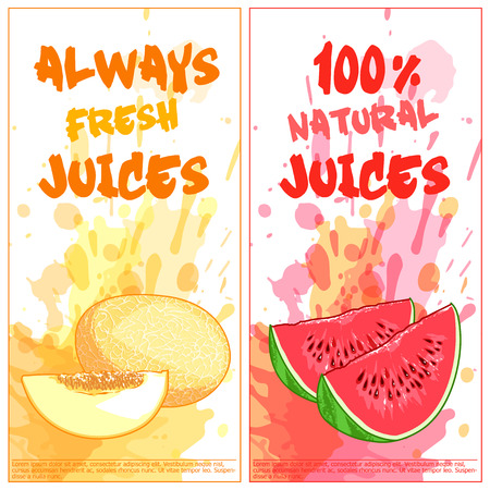 natural juices: Two vertical orientation flyers with fruits. Always fresh and 100% natural juices. Vector template flayer isolated on a white background. Illustration